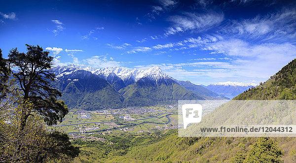 Panoramic of Rhaetian Alps in spring from Prati Nestrelli  Civo  province of Sondrio  Valtellina  Lombardy  Italy  Europe