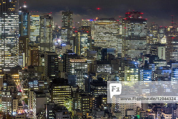 Downtown city buildings at night  Tokyo  Japan  Asia