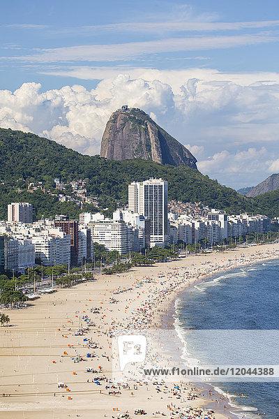 Elevated view of Copacabana beach  Rio de Janeiro  Brazil  South America