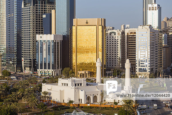 Modern city skyline  Abu Dhabi  United Arab Emirates  Middle East