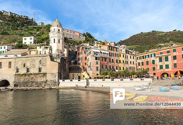 Colourful kayaks in the harbour at Vernazza  Cinque Terre  UNESCO World Heritage Site  Liguria  Italy  Europe