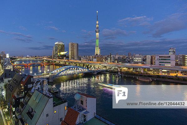 City skyline and Skytree on the Sumida River  Tokyo  Japan  Asia