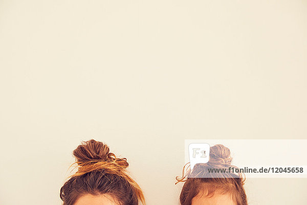 Portrait of mother and daughter  hair in bun  top section