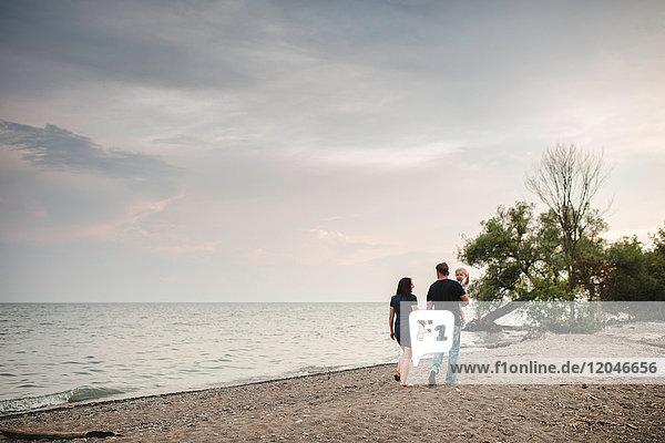 Rückansicht eines Paares  das mit seinem Kleinkind am Strand spazieren geht  Ontariosee  Kanada