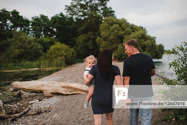 Rear view of couple strolling on beach with male toddler son  Lake Ontario  Canada