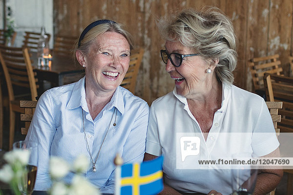 Lächelnde ältere Freundinnen  die sich am Tisch im Restaurant unterhalten und unterhalten
