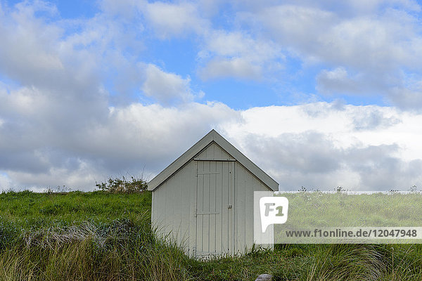 Fisherman's hut on the dune heath at the beach in Bamburgh in Northumberland  England  United Kingdom