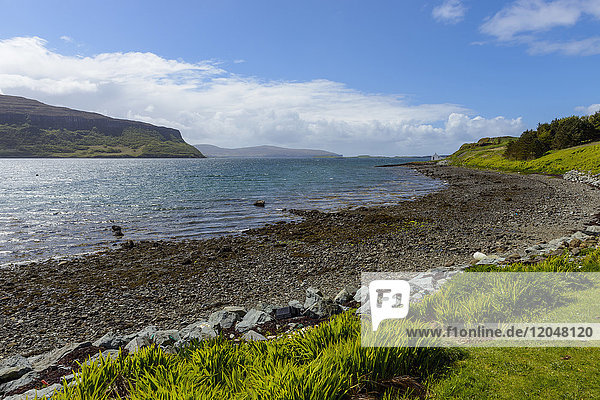 Shingle beach and coastal landscape on the Isle of Skye in Scotland  United Kingdom