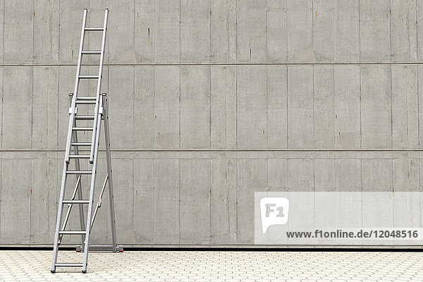 Digital illustration of a portable ladder against a concrete wall