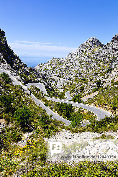 Hairpin Turns on Road through Mountains  Majorca  Balearic Islands  Spain