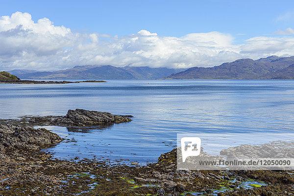 Scottish coastal shoreline along the Sound of Sleat near Armadale on the Isle of Skye in Scotland  United Kingdom