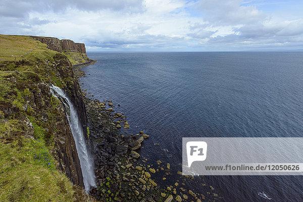 Mealt Waterfall with Kilt Rock on the Trotternish Peninsula on the Isle of Skye in Scotland  United Kingdom