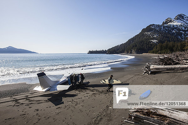 Cessna 206 Landed On The Outer Coast Of Kenai Peninsula Dropping Off Surfers  Southcentral Alaska  USA