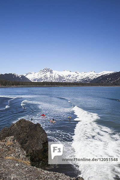 Surfers Along The Kenai Peninsula Outer Coast  Southcentral Alaska  USA