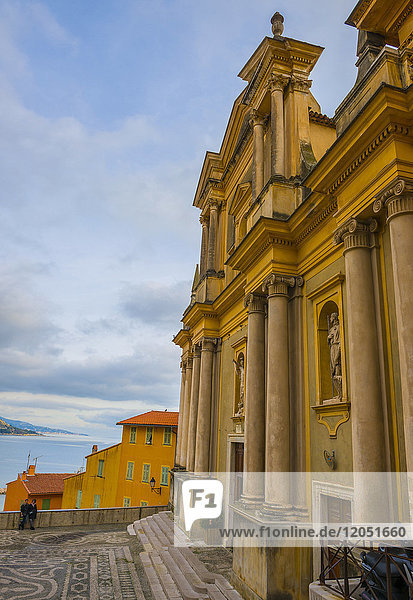 Church Building Facade And View Of The Mediterranean Sea; Menton  Cote D'azur  France
