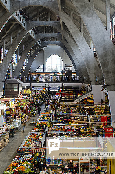 Market Hall  Interior With Reinforced Concrete Arches And Stalls; Wroclaw  Poland
