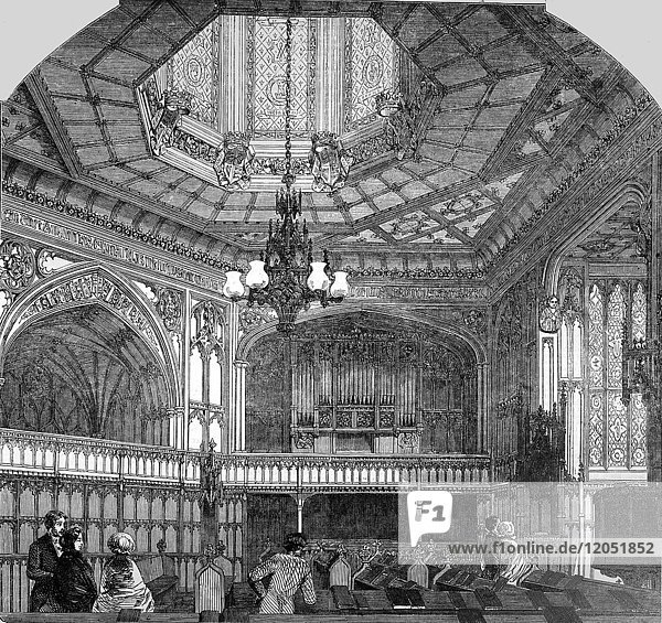 The Illustrated London News Etching From 1854. The Chapel Royal  Windsor Castle