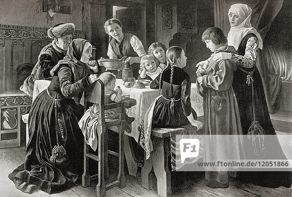 Martin Luther  seen here as a boy c. 1498  at the house of Ursula Cotta who adopted him after hearing him sing outside her house. Martin Luther  1483 – 1546. German professor of theology  composer  priest  monk and a seminal figure in the Protestant Reformation. From Hutchinson's History of the Nations  published 1915.