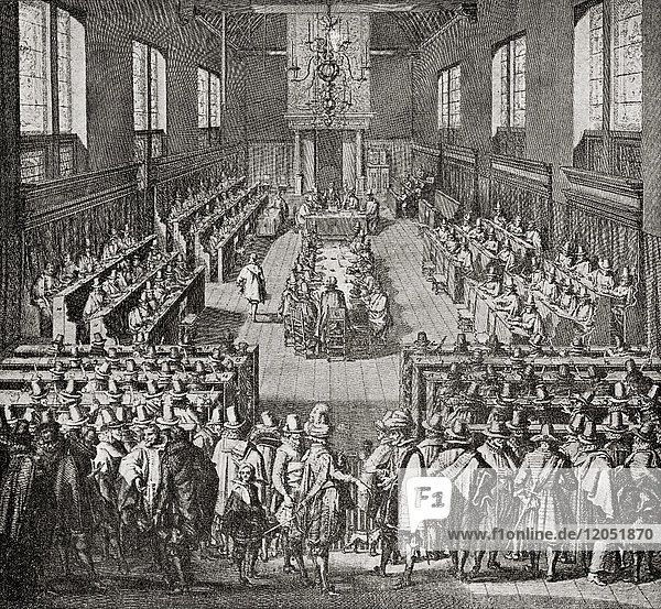 The Synod of Dort aka the Synod of Dordt or the Synod of Dordrecht  an international Synod held in Dordrecht in 1618–1619  by the Dutch Reformed Church to settle a divisive controversy initiated by the rise of Arminianism. From Hutchinson's History of the Nations  published 1915