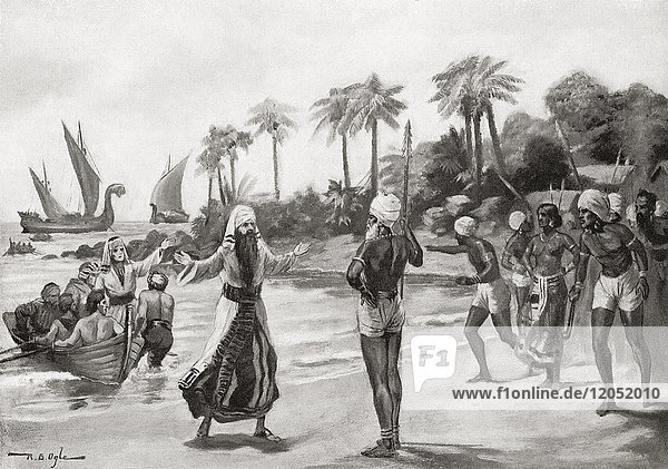 Arrival of the Jewish pilgrims exiled from Israel at Kochi aka Cochin on the south-west coast of India in 68 AD. From Hutchinson's History of the Nations  published 1915.