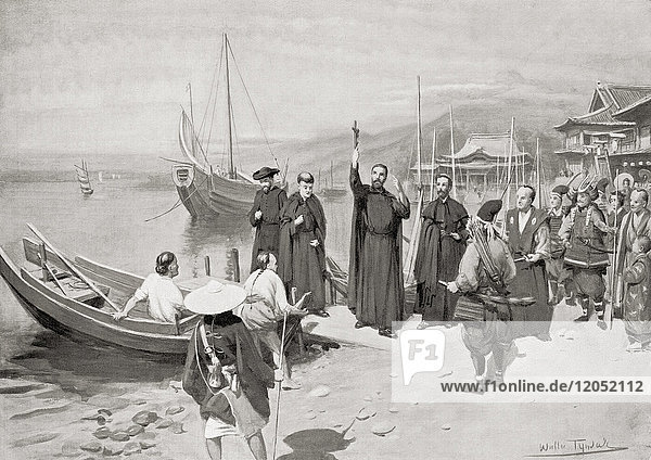 The landing of St. Francis at Kagoshima  Satsuma Province on the island of Ky?sh? in 1549. Saint Francis Xavier  S.J.  1506–1552. Navarrese-Basque Roman Catholic missionary. From Hutchinson's History of the Nations  published 1915