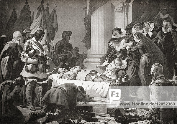 The grief of Maria Eleonora of Brandenburg at the lying- in-state of her deceased husband Gustav II Adolf  1632. Gustav II Adolf  1594 – 1632  aka Gustavus Adolphus or Gustav II Adolph. King of Sweden. Maria Eleonora of Brandenburg  1599 – 1655. German princess and queen consort of Sweden. From Hutchinson's History of the Nations  published 1915.
