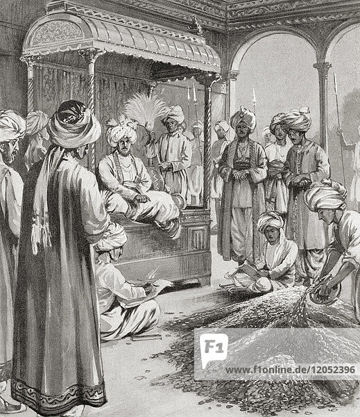 Muhammad bin Tughluq  aka Prince Fakhr Malik  Jauna Khan  Ulugh Khan; died 20 March 1351. Sultan of Delhi of Turkic descent. Muhammad bin Tughluq issuing token currency; that is coins of brass and copper were minted whose value was equal to that of gold and silver coins  1330 AD. From Hutchinson's History of the Nations  published 1915.