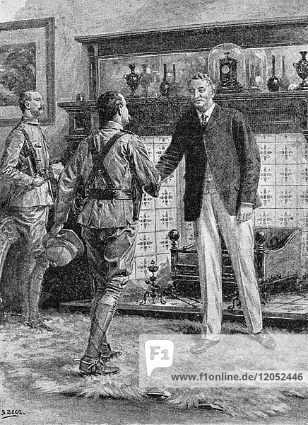 Illustrated London News record of Transvall War 1899-1900. The chievements of the home and colonial forces in the great conflict with the Boer Republics. Spencer Wilkinson record. The relief of Kimberley:Mr Rhodes receiving General French. Sketch F.Villiers
