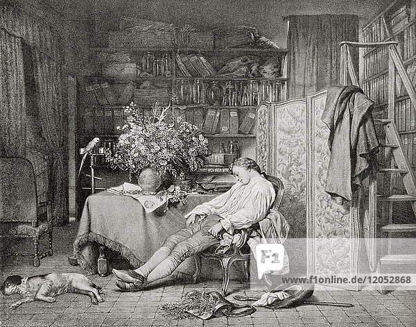 Linnaeus at home asleep in a chair after returning from one of his botanical excursions. Carl Linnaeus  1707 – 1778  aka Carl von Linné. Swedish botanist  physician  and zoologist. From Hutchinson's History of the Nations  published 1915.