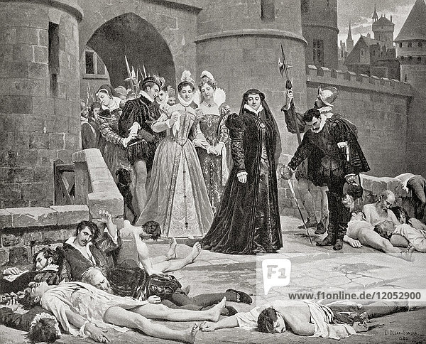 Catherine de' Medici sees victims of the The St. Bartholomew's Day massacre in 1572. A targeted group of assassinations and a wave of Catholic mob violence directed against the Huguenots during the French Wars of Religion believed to have been instigated by Catherine de' Medici. Catherine de' Medici 1519 –1589. Italian noblewoman who was Queen of France as the wife of King Henry II. From Hutchinson's History of the Nations  published 1915.