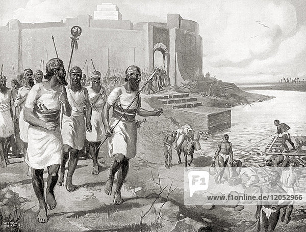 The Assyrian army leaving the city of Assur to oppose the western Semites c. 2050 BC. Stores for the use of the army were loaded onto rafts supported by inflated skins which the swift current of the river would carry downstream. From Hutchinson's History of the Nations  published 1915.