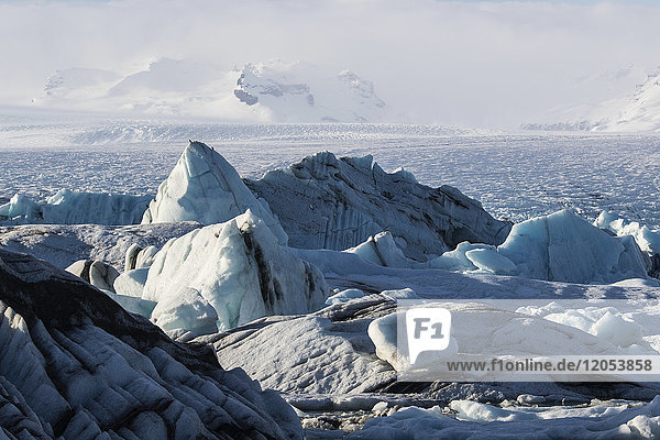 Massive Icebergs Choke Up The Waters Of The Glacial Lagoon Along Iceland's South Coast; Jokulsarlon  Iceland