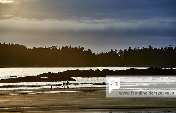 Silhouette Of A Couple And Their Bikes On Mackenzie Beach At Sunset; Tofino  British Columbia  Canada