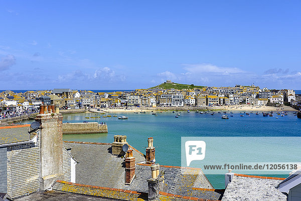 UK  England  Cornwall  St Ives  townscape with harbor