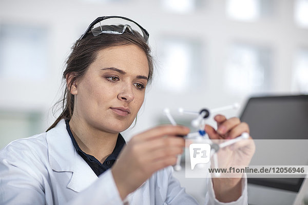 Wissenschaftler im Labor mit Molekularstruktur