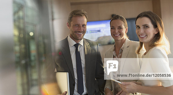Portrait smiling  confident business people in office