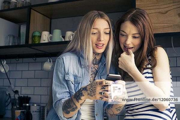 Frauen  die gemeinsam auf das Smartphone schauen