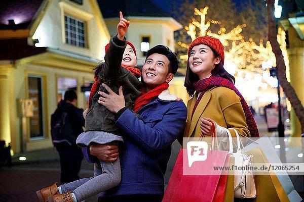 Happy family holiday shopping