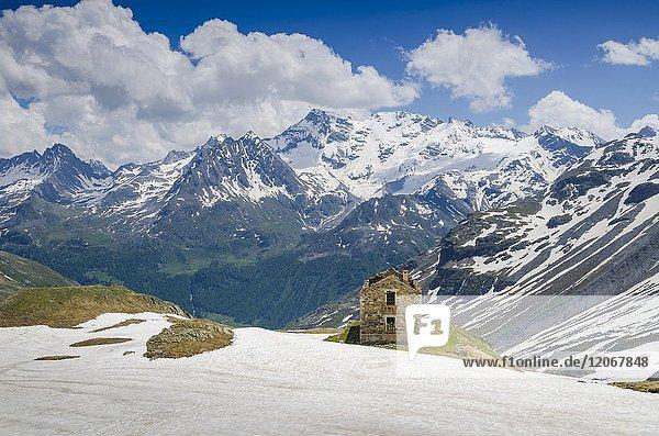An ancient shelter in San Grato Valley  Valgrisenche  Aosta Valley  Italy  Italian alps.