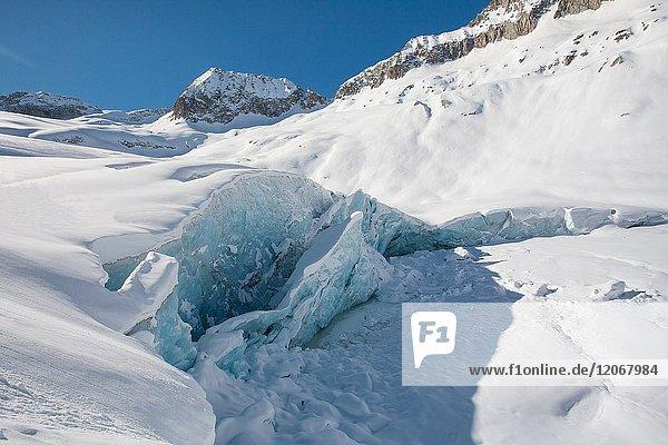 Forms on a glacier  in winter time. Adamello glacier  Lombardy  Italy.