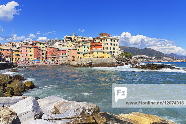 The old fishing village of Boccadasse  Genoa  Liguria  Italy  Europe