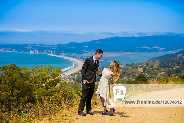 Couple in engagement dress  Marin  California  United States of America  North America