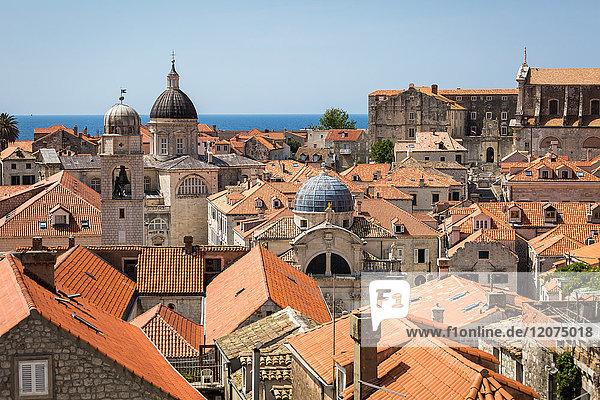 Looking across Dubrovnik's terracotta tiled rooftops  Dubrovnik  Croatia  Europe