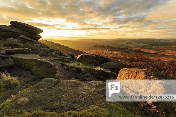 Carl Wark Hill Fort and Hathersage Moor from Higger Tor  sunrise in autumn  Peak District National Park  Derbyshire  England  United Kingdom  Europe