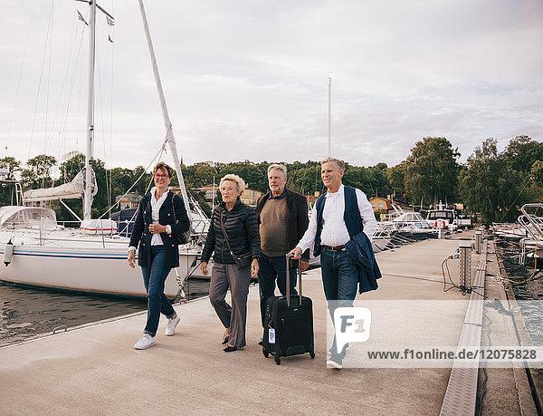 Volle Länge der älteren männlichen und weiblichen Freunde mit Gepäck auf dem Pier gegen den Himmel gehend