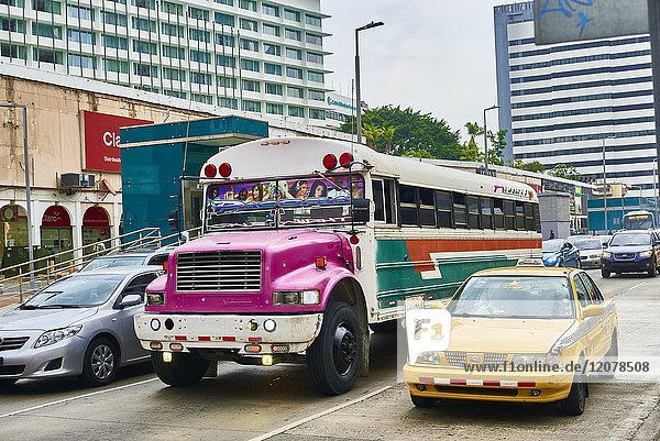 Bus and Taxi in Panama City  Republic of Panama  Central America  America