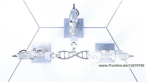 3D Rendering  Roboterarme reparieren DNA-String