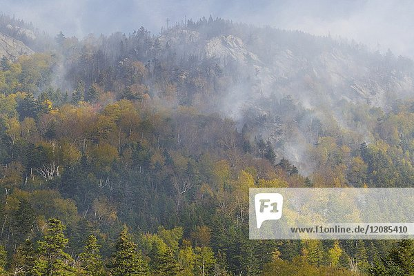 Smoke from a forest fire on Dilly Cliff in Kinsman Notch New Hampshire in October 2017. These cliffs are located behind the Lost River Gorge and Boulder Caves on Route 112 in North Woodstock.