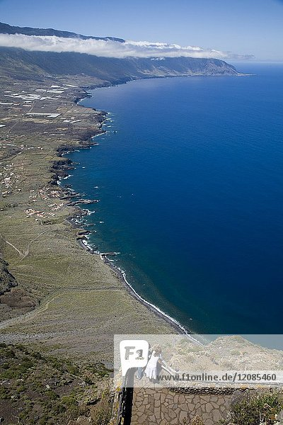 View of El Golfo from the Mirador de la Peña Restaurant  designed by Cesar Manrique. El Hierro  Canary Islands  Spain