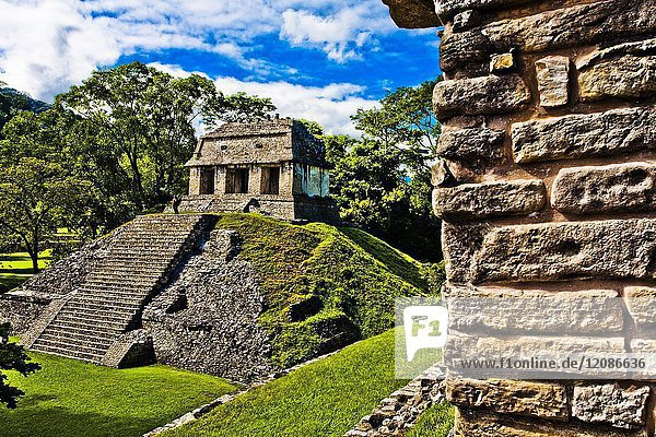At left Temple of the Count view from Templo Norte  Templo del Conde  Maya archaeological site  Palenque  Chiapas State Mexico  Central America.